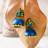 Eco-Friendly Peacock Terracotta Jhumka