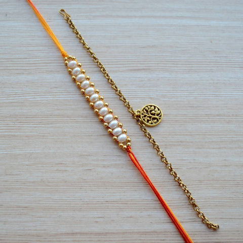 Pearl Beaded Mauli With Gold Medallion Bracelet Rakhi Set
