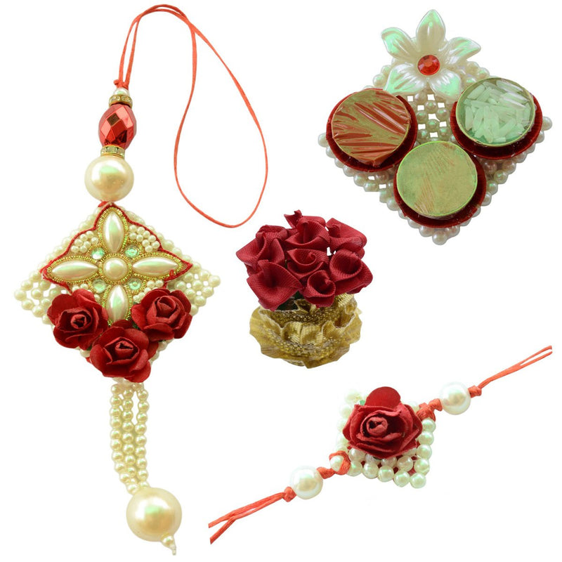 Pearl White & Red Rose Bhaiya Bhabhi Rakhi Set- 6 Items