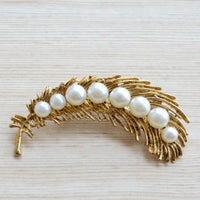 Pearl and Gold Peacock Feather Wedding Party Wear Brooch