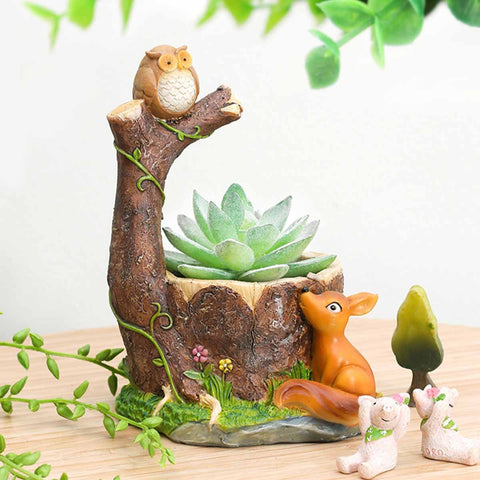 Perched Owl on Tree and Deer Resin Succulent Pot