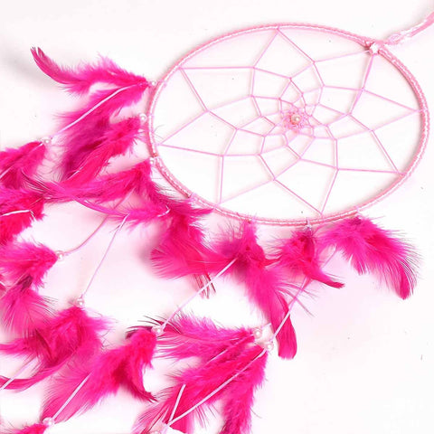 Pink Color Dream Catcher Wall Hanging (Medium)