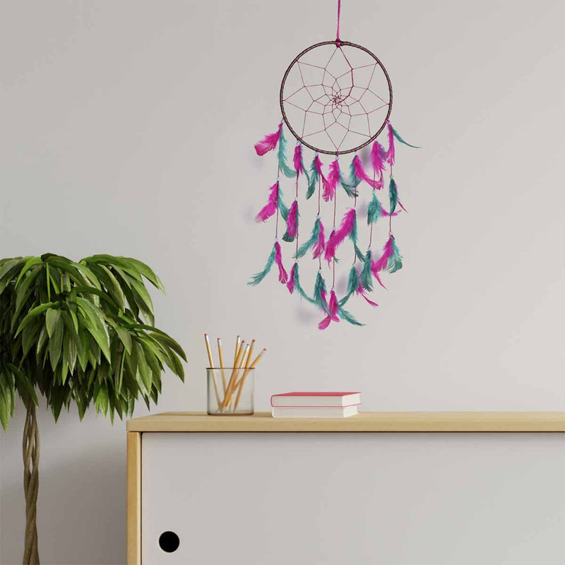 Pink & Green Color Dream Catcher Wall Hanging (Medium)