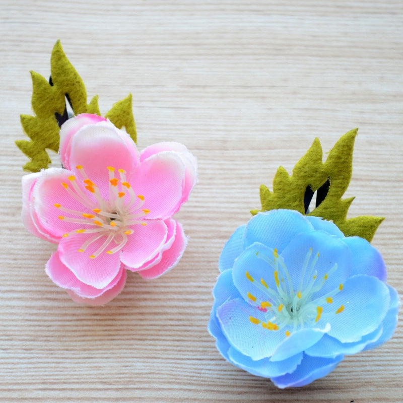 Hair Accessory Gift Set for Girls (Pink and Blue Rose Flower) - Set of 2