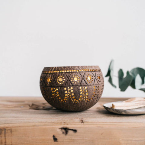 Handmade Natural Coconut Candle Holder /Planter pot
