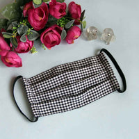 Face Mask - Pleated (Kids)(Black Checks), Reusable and Washable