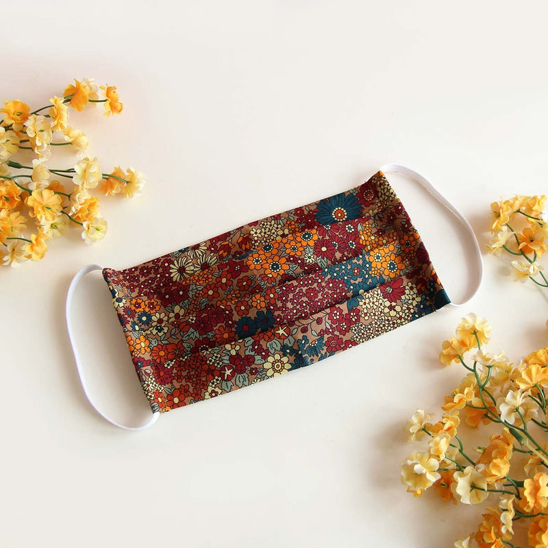 Face Mask (Pleated) - Multi Floral, Reusable and Washable