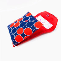 Polka SanitaryPad Pouch (2 Pockets) Red Lining & Button