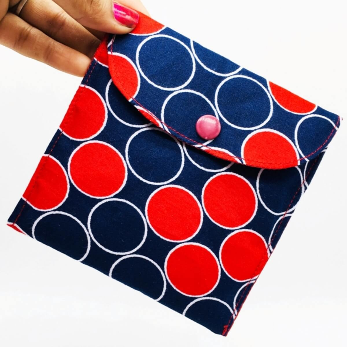 Polka Sanitary Pad Pouch One Pocket Red Lining Button Qtrove