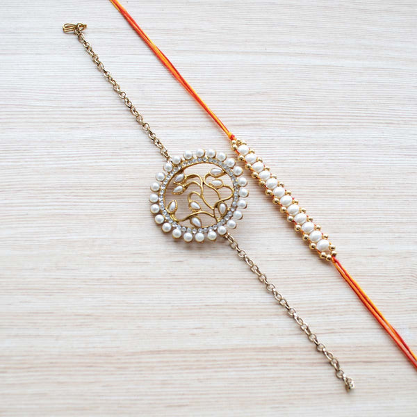Precious Kundan Rakhi and Thread Rakhi (Set of 2) at Qtrove