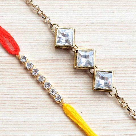 Precious Square Kundan Rakhi and Thread Rakhi (Set of 2)