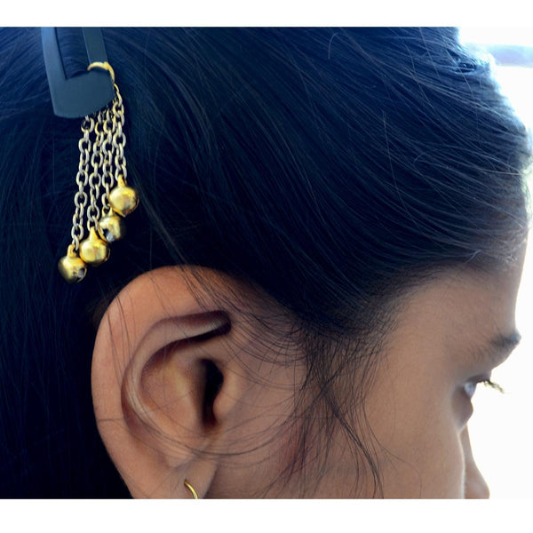 Ethnic Set of 2 Earrings With Hair Clips Bells at Qtrove