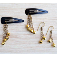 Ethnic Set of 2 Earrings With Hair Clips Bells