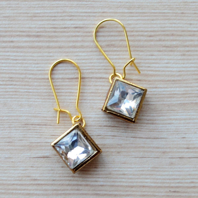 Princess Cut Square Kundan Gold Earring