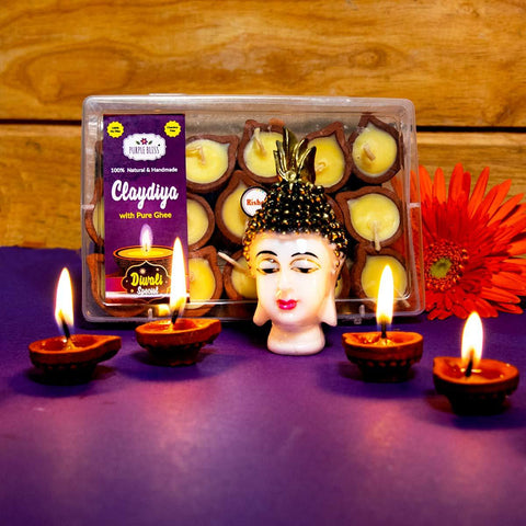Clay Diya With Pure Ghee - 15 Units (Small)