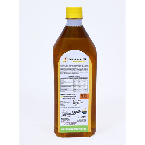 100% Cold Pressed Pure Mustard Oil of Yellow Mustard Seeds, 1000 ml