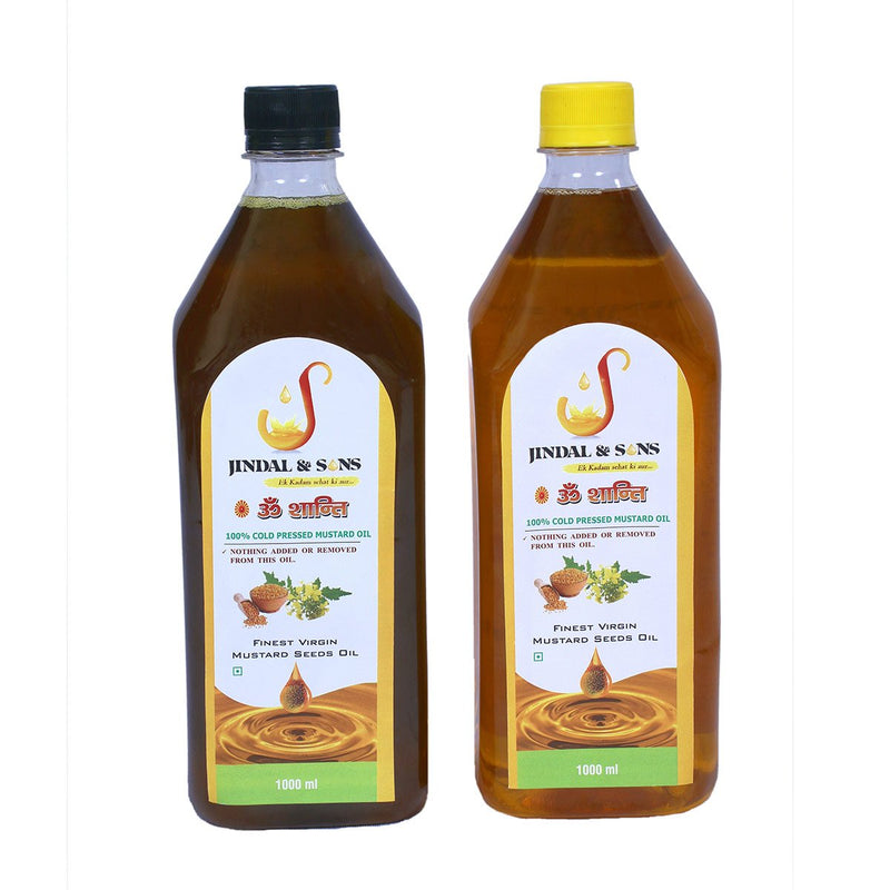 100% Cold Pressed Pure Mustard Oil of Yellow & Black Mustard Seeds (Combo Pack), 1000 ml + 1000 ml