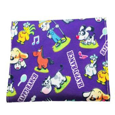 Purple Ranch Print Multipurpose Pouch (2 Pockets) Green Lining