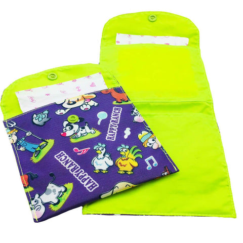 Purple Ranch Sanitary Pad Pouch Two Pockets Neon Green Lining