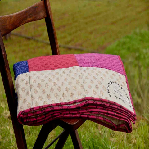 Purple & Pink - 100% Cotton Handmade Patchwork Quilt From India