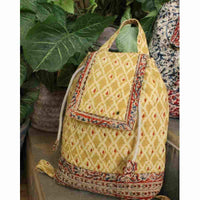 Quilted Mustard Kalamkari Backpack Bag