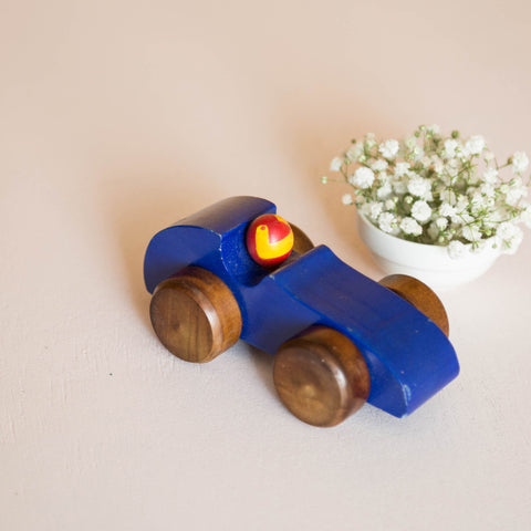 Eco-Friendly Wooden Race Car (Blue)