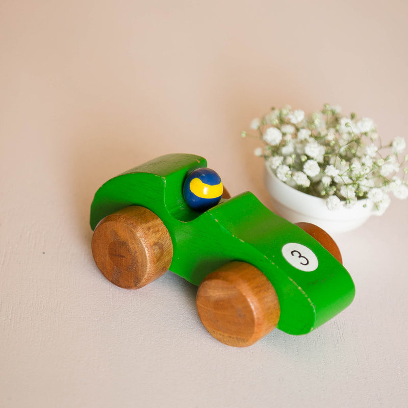Eco-Friendly Wooden Race Car (Green)