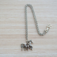 Race Horses Pendant With Chain Silver