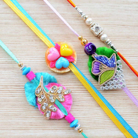 Rainbow Multicolour Rakhi For Kids (Set of 4)