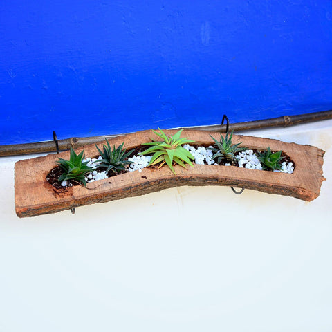 Raw Wooden Railing Planter With Metal Stand Qtrove