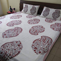 Red Colour Big Paisley King Size Bedsheet (2 Pillow Cover)