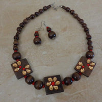 Red Crystals - Handcrafted Wooden Necklace Set With Matching Earrings