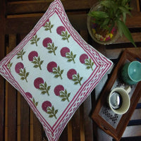 Red Colour Flower Design Hand Block Printed With Natural Colour Cotton Cushion Cover (Single)