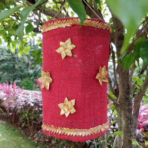 Red Jute Fabric  Lanter