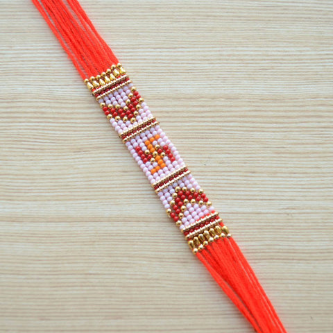 Traditional Red Swastik Beaded Braided Thread Rakhi