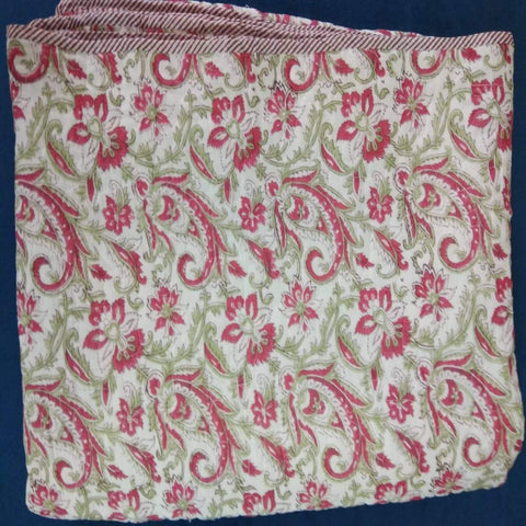 Red Tree 100% Cotton Razai Printed With Natural Colour