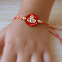 Handcrafted Red, Yellow and Gold Rakhi (Set of 3)