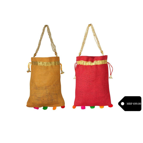 Jute Potli Bag  With Beaded Handle And Pompom (Pack of 2)