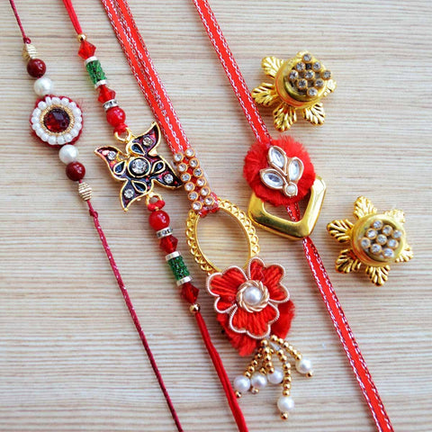 Red and Gold Kundan Zardozi Indian Rakhi, Tikka and Lumba (Set of 5)