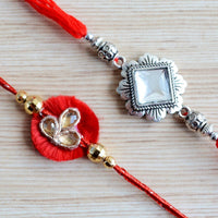 Red and Silver Kundan Zardozi Indian Rakhi Set (Set of 2)