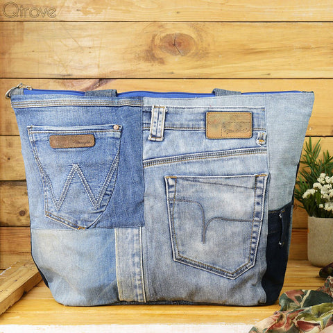 Denim Patchwork Tote Bag With A Touch of Black