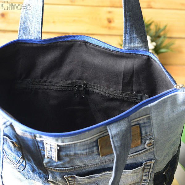 Denim Patchwork Tote Bag With A Touch of Black at Qtrove