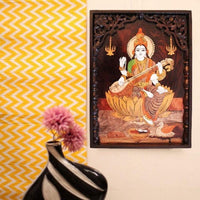 Rosewood Painting with wooden frame - Saraswati