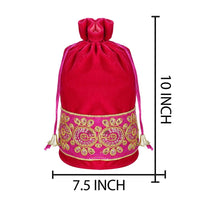 Pink Color Round Base Velvet Zari Embroidered Potli Bag (Medium)
