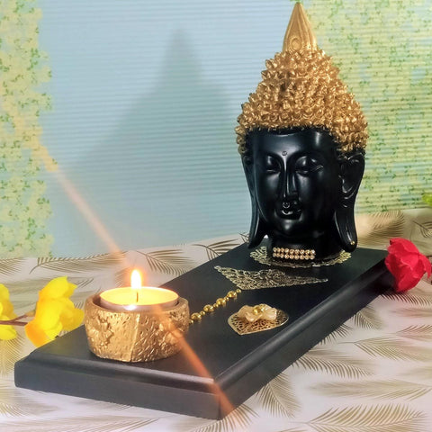 Buddha Face Statue on Decorated Tray with Tealight Holder