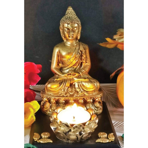 Golden Antique Finish Dhyana Mudra Buddha Idol