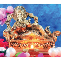 Golden Antique Finish Ganesha Idol as Sri Vidya Ganapti