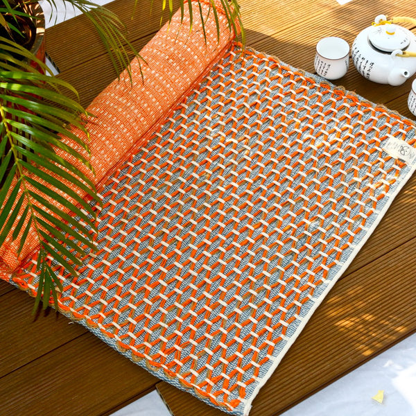 Sanathana - Orange Grey Cotton And Jute Mat at Qtrove