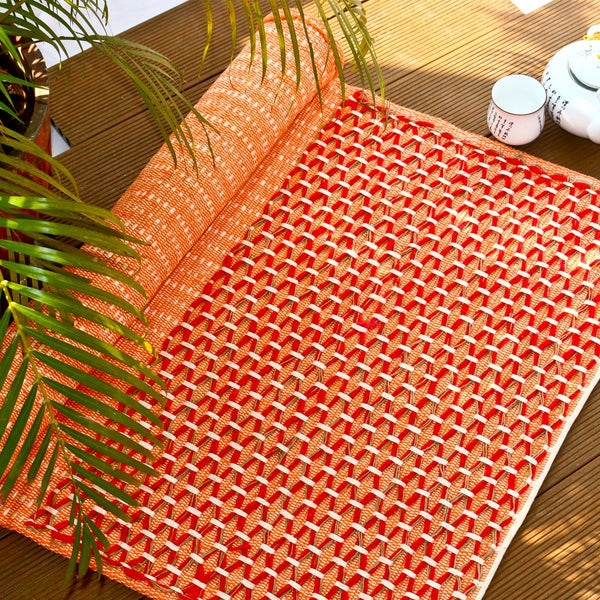 Sanathana - Orange Red Cotton and Jute Mat at Qtrove