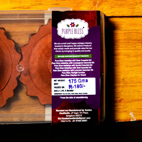 Clay Diya With Pure Ghee (Sandal Essential Oil) - 2 Units (Big)